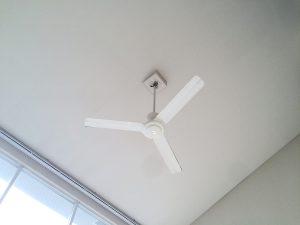 天井にはシンプルなファン